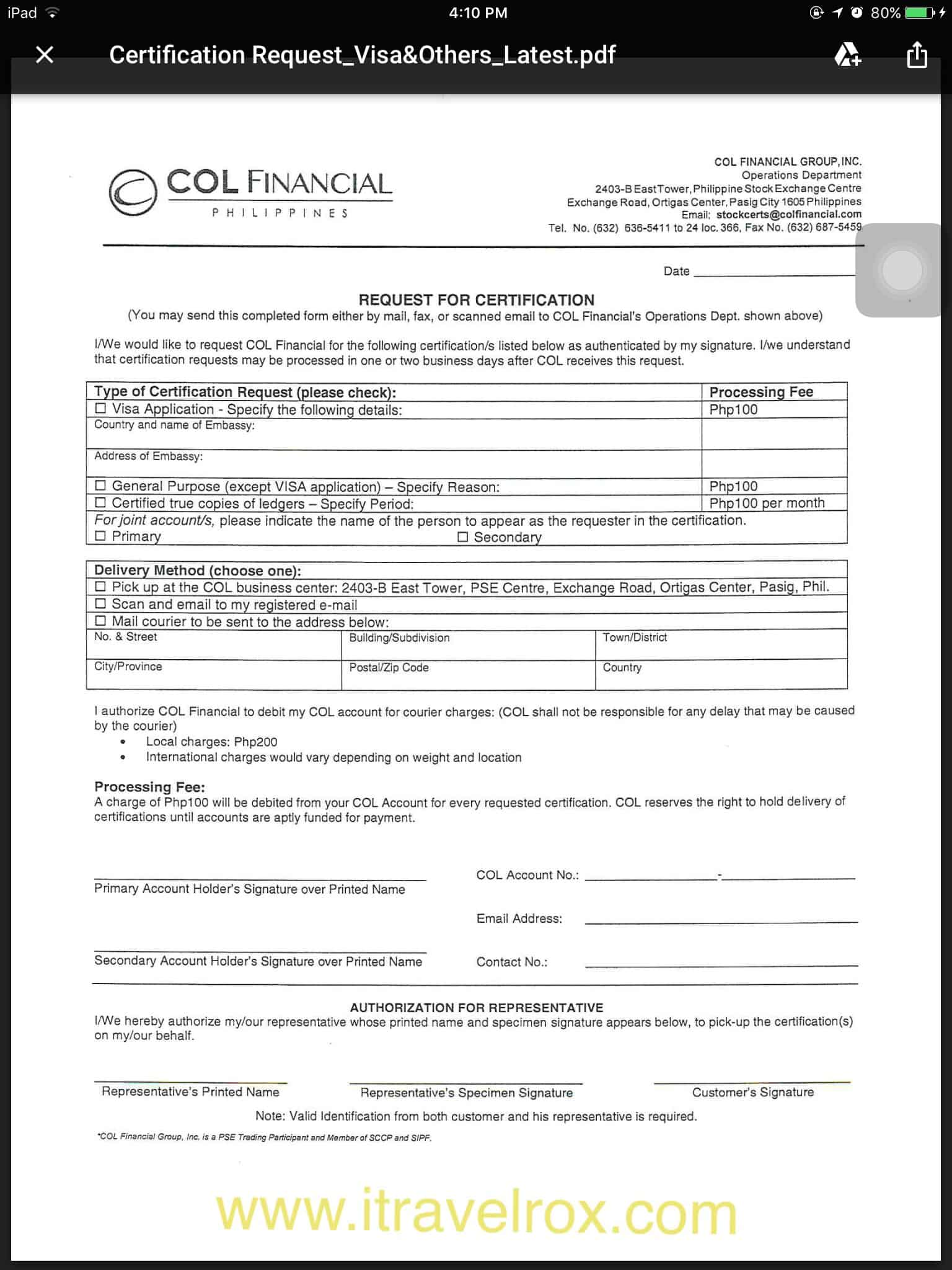 How to request stock certificate from col financial philippines how to request stock certificate from col financial philippines for visa application itravelrox yelopaper Images
