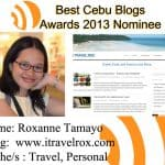 Nominated for Best Cebu Blogs Awards 2013
