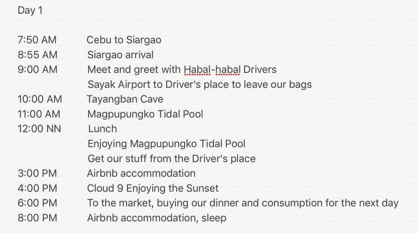 5 days 4 nights siargao itinerary day 1