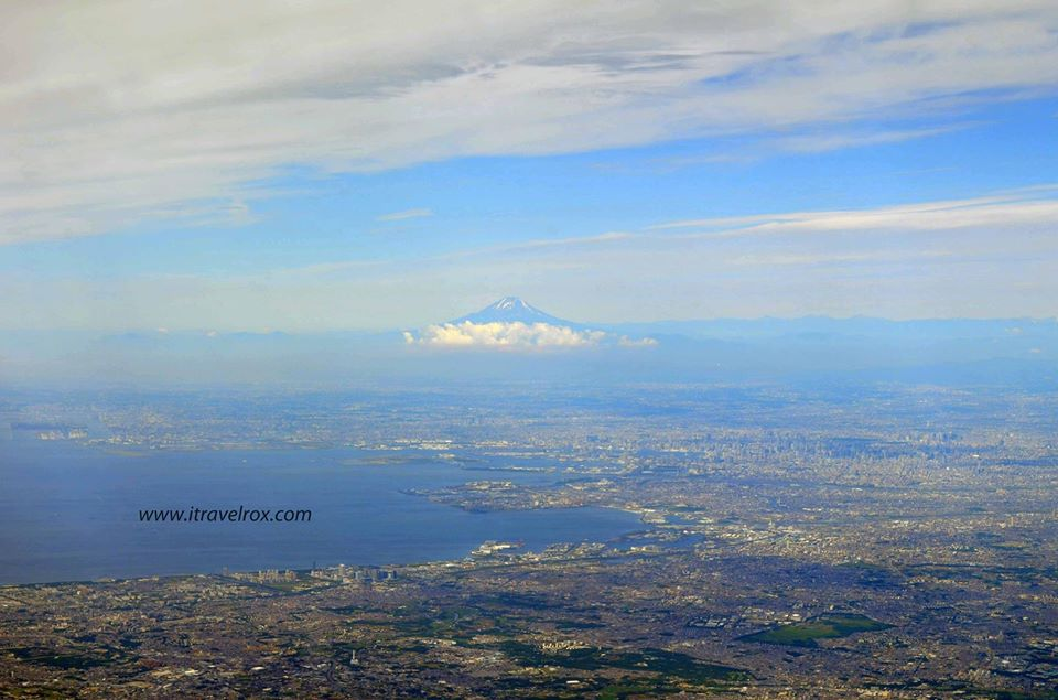 mount fuji aerial view from the airplane